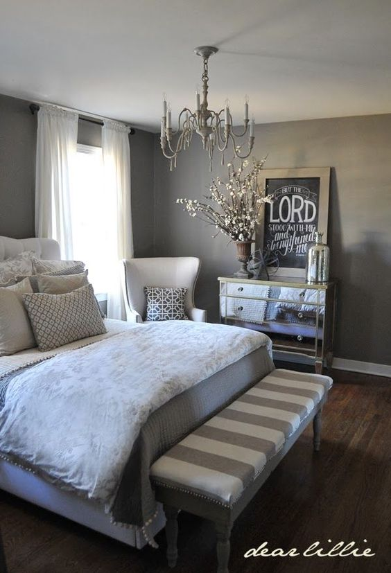gray bedroom walls and double bed