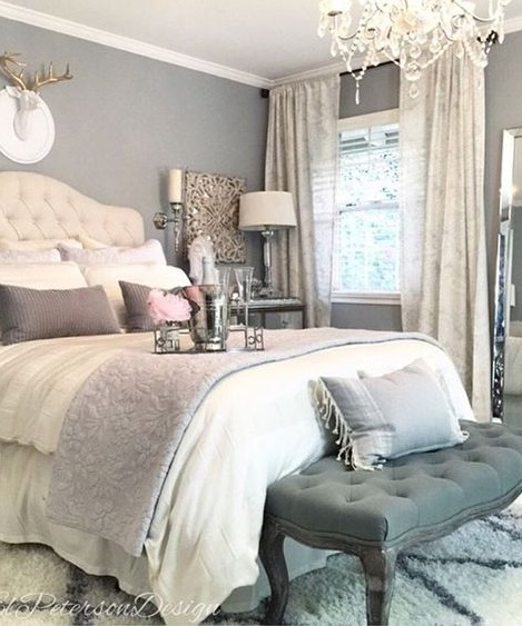 gray, pink and white colors used in a room