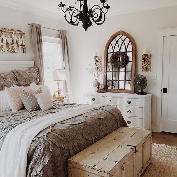 gray country elegant bedroom decorating idea