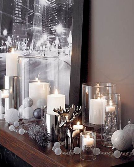 silver contemporary Holiday Décor for the Fireplace,