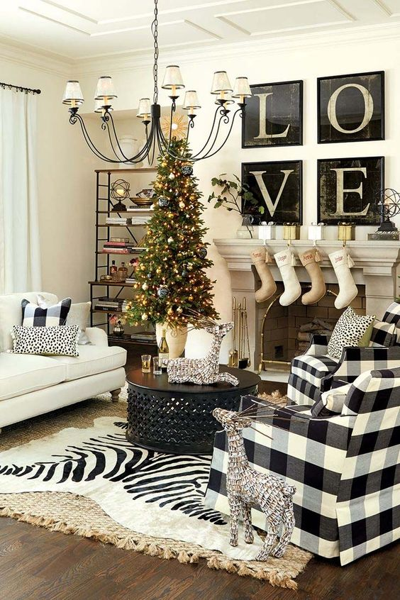 Black and white Christmas decor