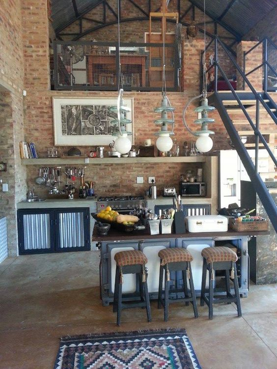 20 dream loft kitchen design ideas decoholic for Industrial style kitchen