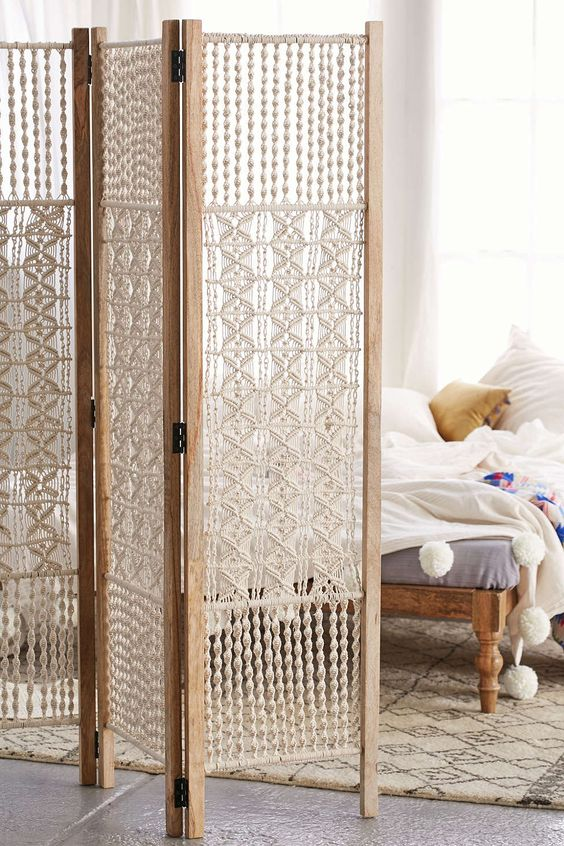 bohemian macrame folding screen