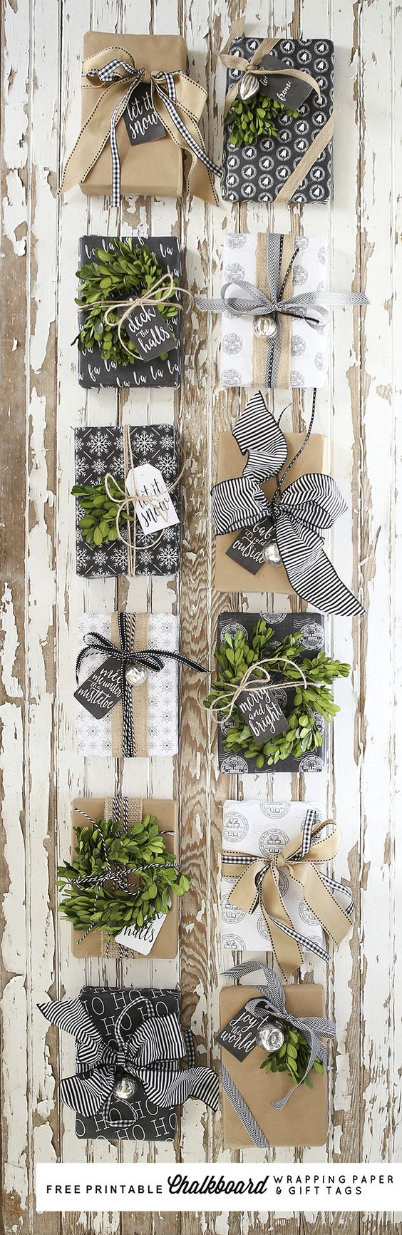 Free Printable Chalkboard Wrapping Paper and Gift Tags