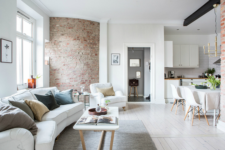 Exposed Brick and Intense White Create a Stunning Decor 2