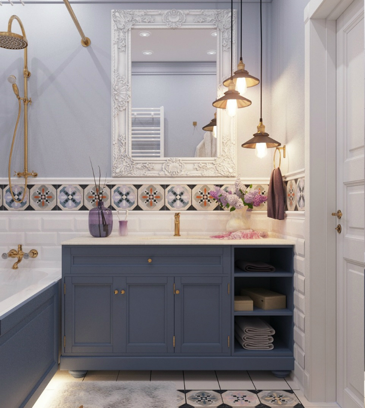 deep blue bathroom cabinets with retro tiles