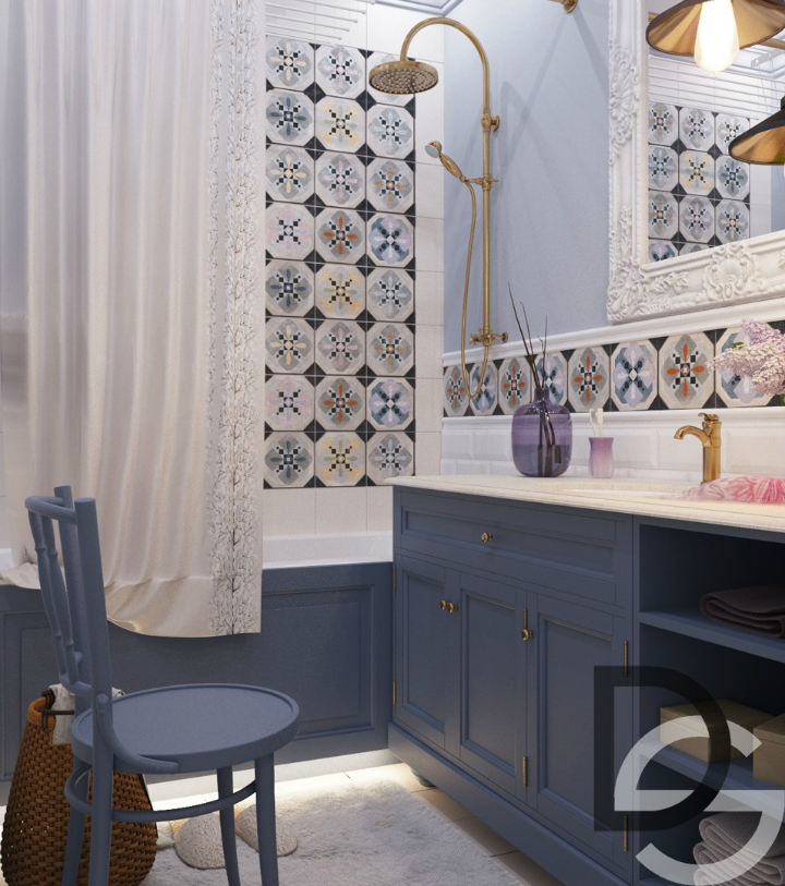 deep blue bathroom cabinets with retro tiles 2