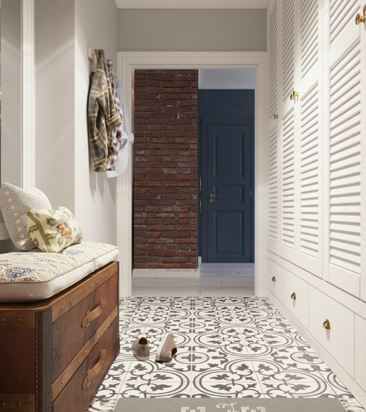 entry with retro tiles and white wardrobe