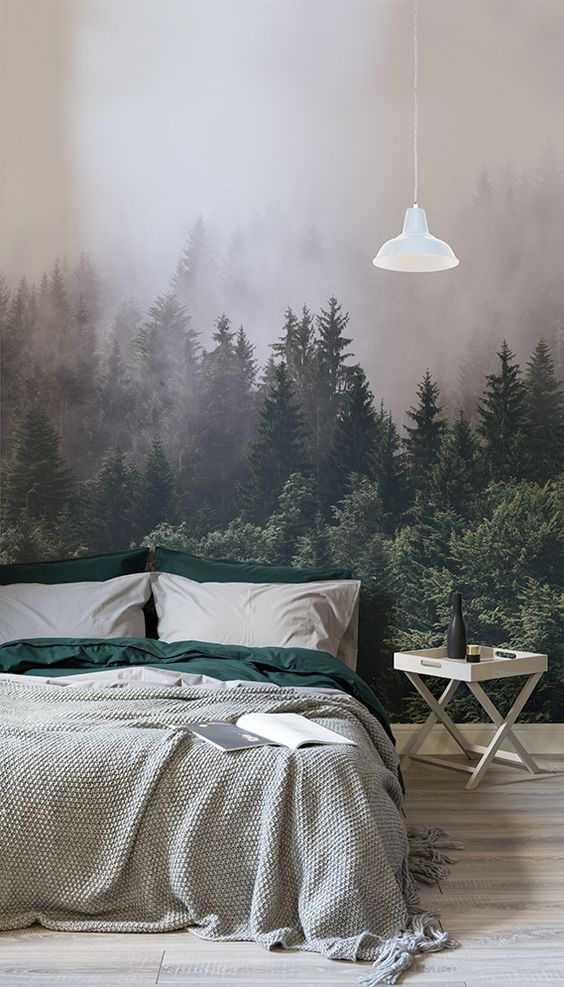 forest wallpaper in bedroom