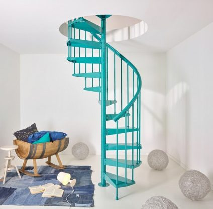 modern spiral turquoise Staircase