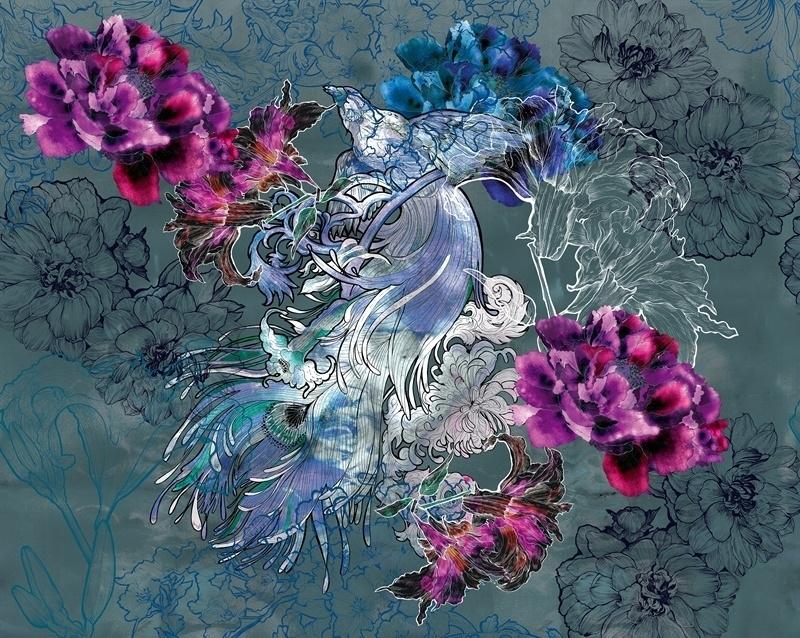 floral mural design idea
