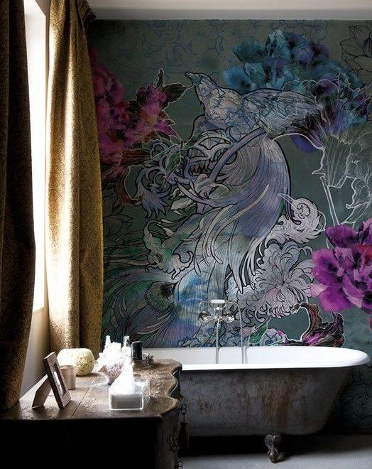 floral mural bathroom idea