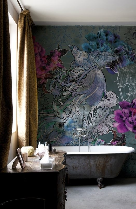 floral mural bathroom idea