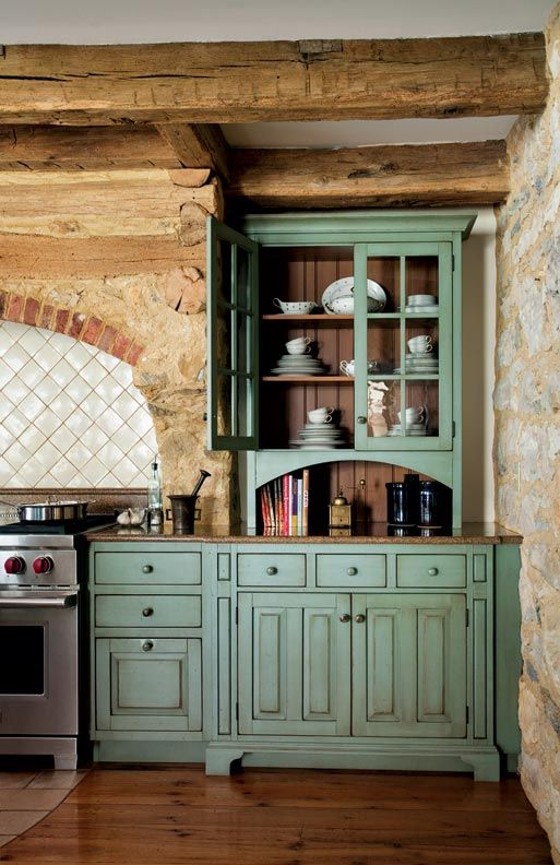 green kitchen design idea 29