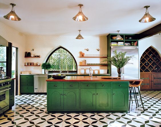 green kitchen design idea 36