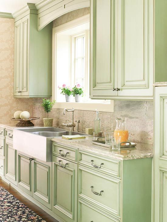 green kitchen design idea 39