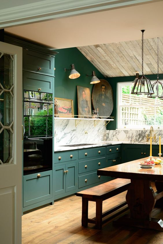 green kitchen design idea 4