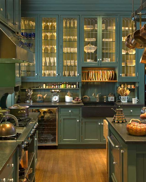 green kitchen design idea 43