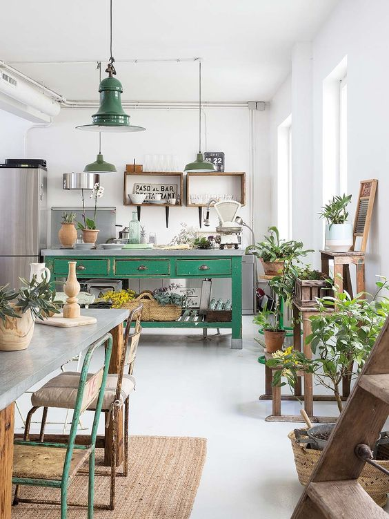 green kitchen design idea 44