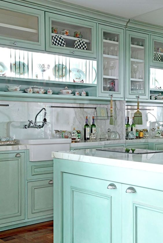 green kitchen design idea 48