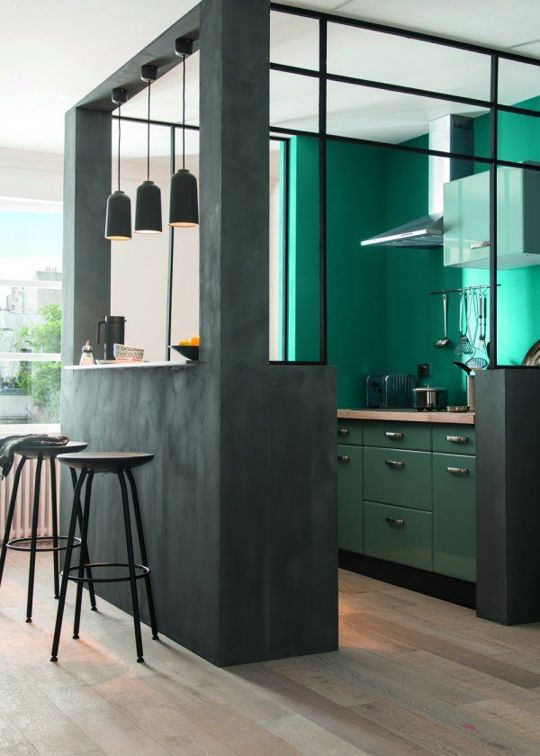 green kitchen design idea 52