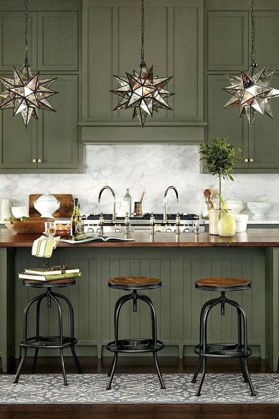 green kitchen design idea 6