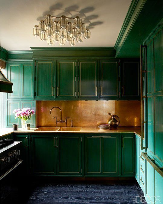 green kitchen design idea 8