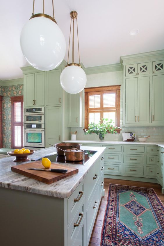 green kitchen design idea 9