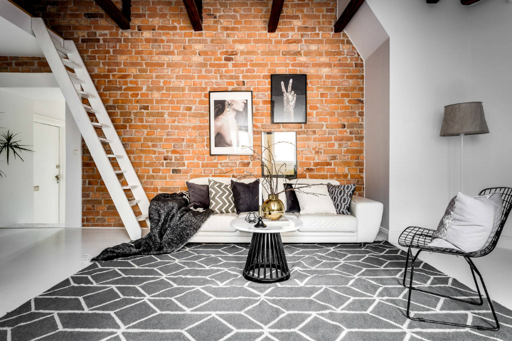 modern Scandinavian attic interior design 2