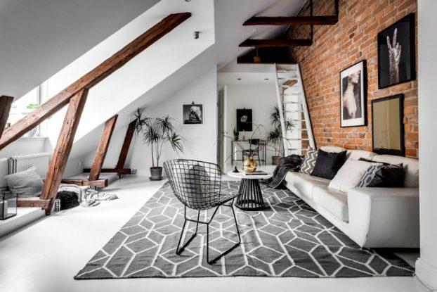 modern Scandinavian attic interior design