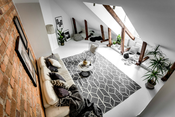 modern Scandinavian attic interior design 8