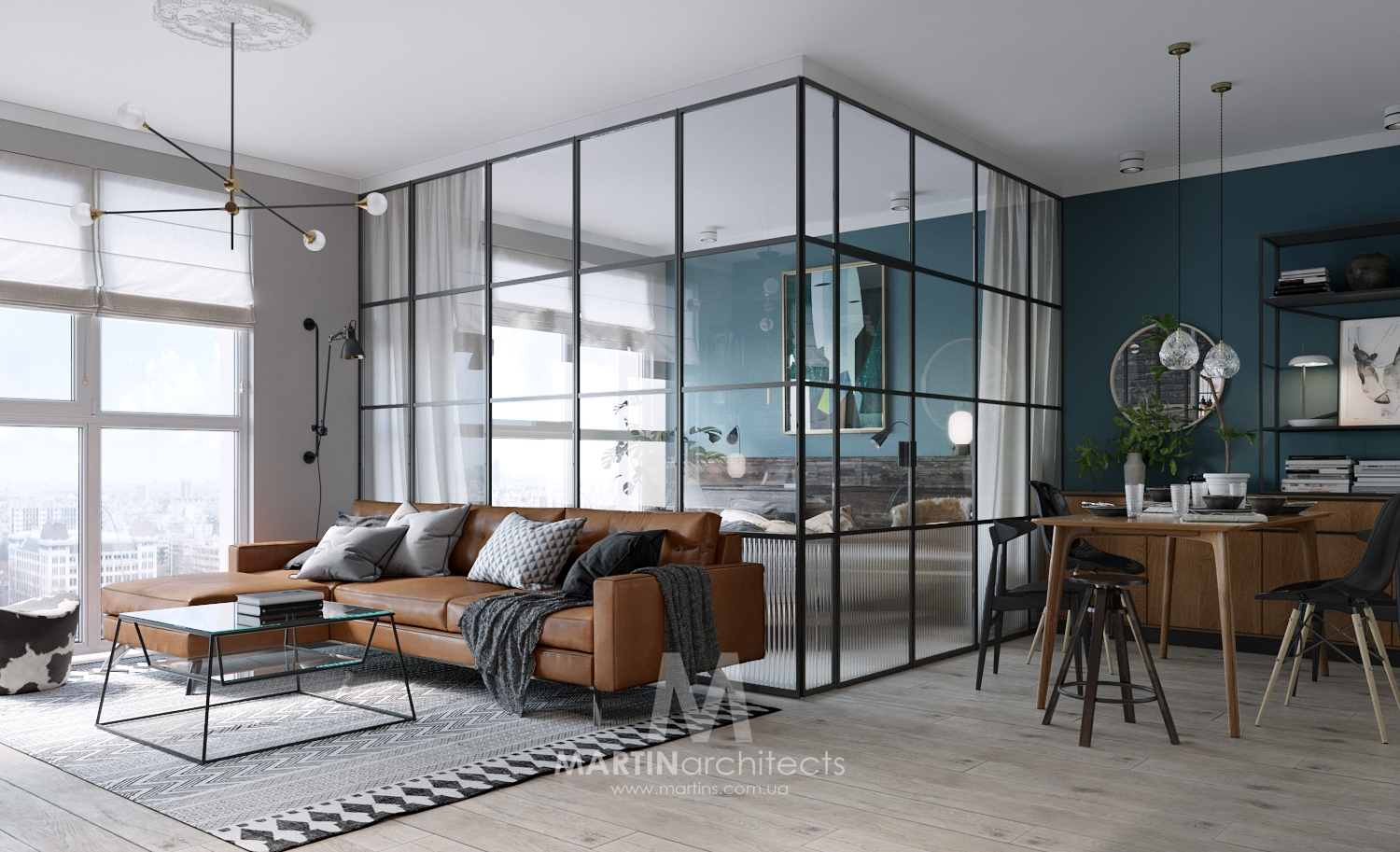 Compact Small Apartment with A Classy Glass Bedroom