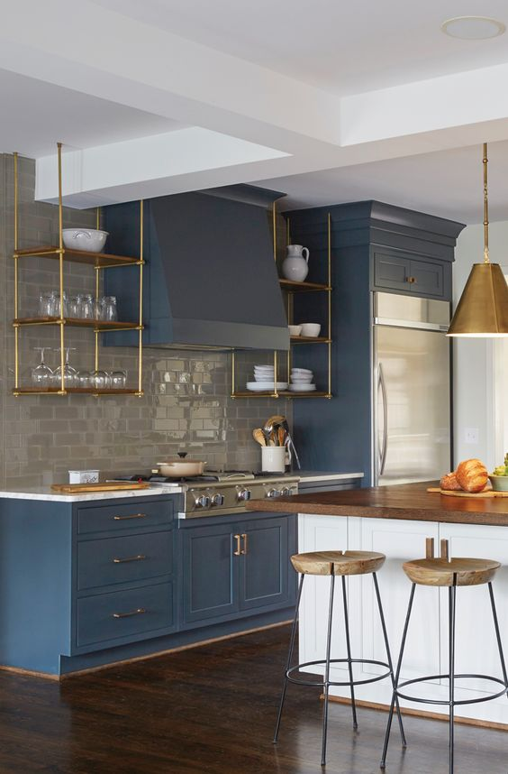 blue kitchen design idea 19