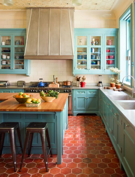 blue kitchen design idea 30
