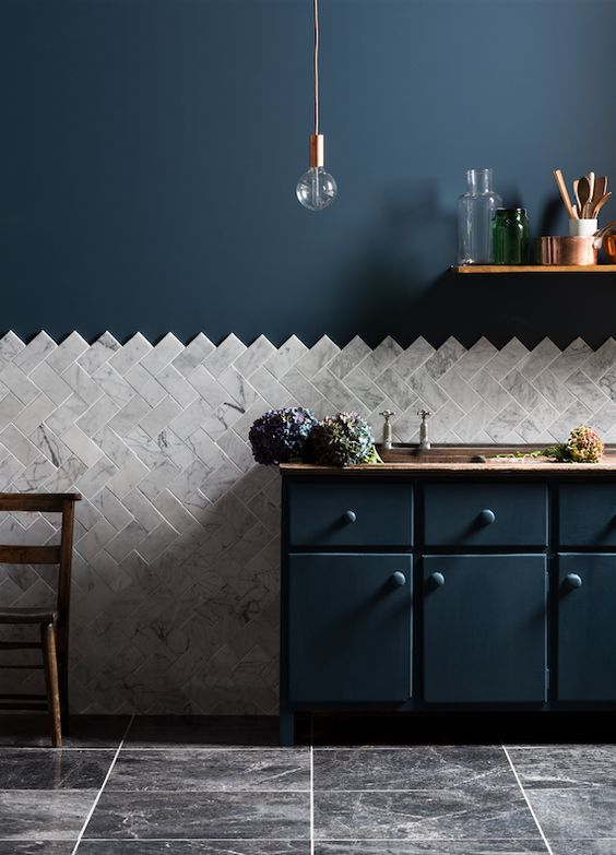 blue kitchen wall and tiles