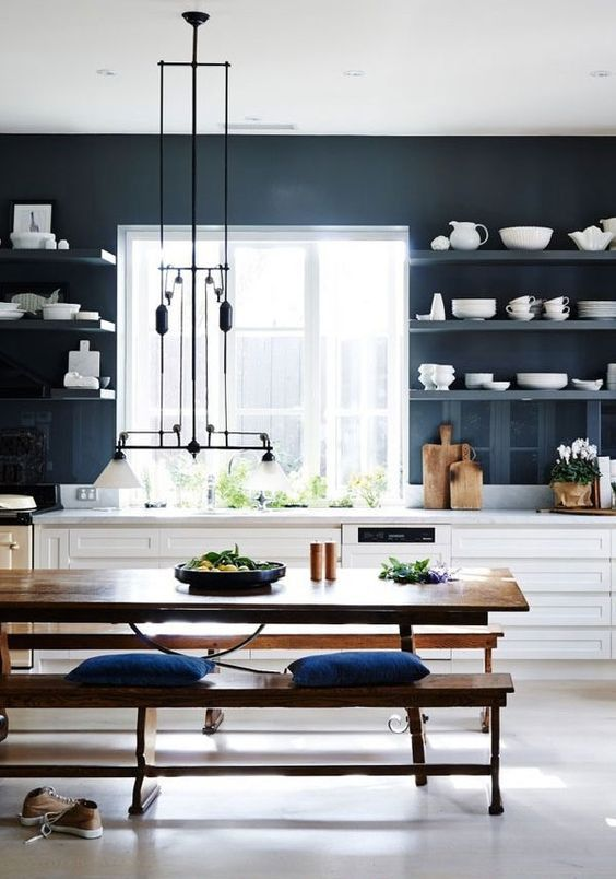 blue kitchen design idea 32