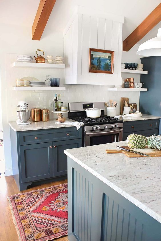 white and blue kitchen wall