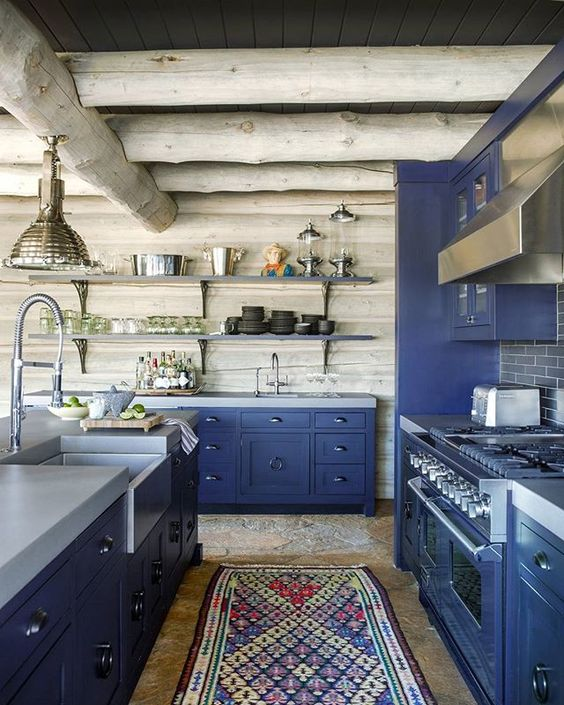 blue kitchen design idea 38