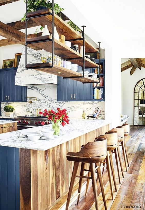 blue kitchen design idea 4
