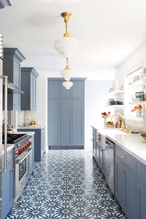 blue kitchen design idea 47