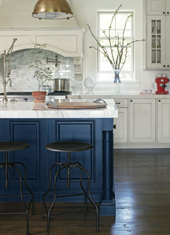 blue kitchen design idea 48