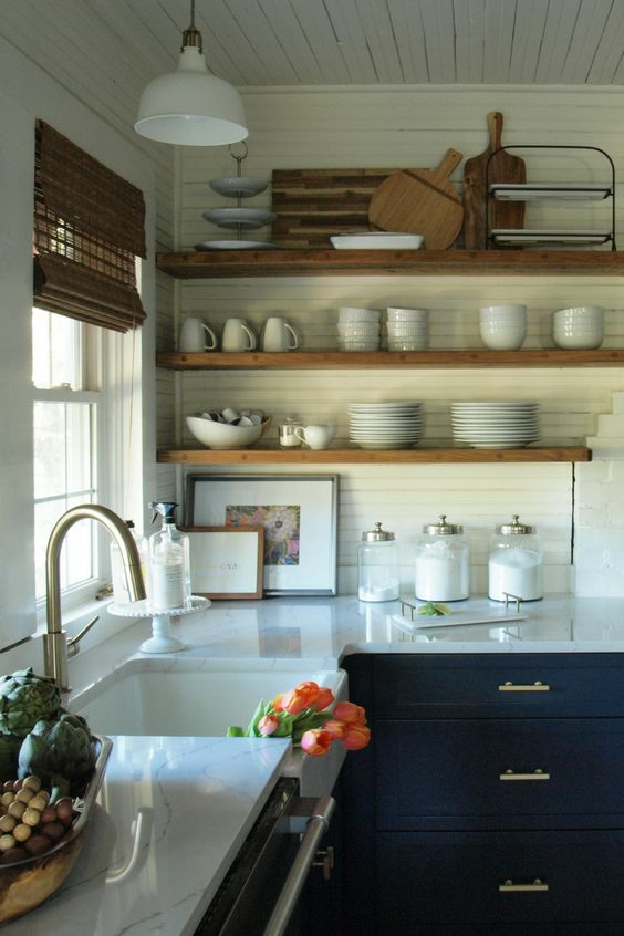 brown shelves and white culinary