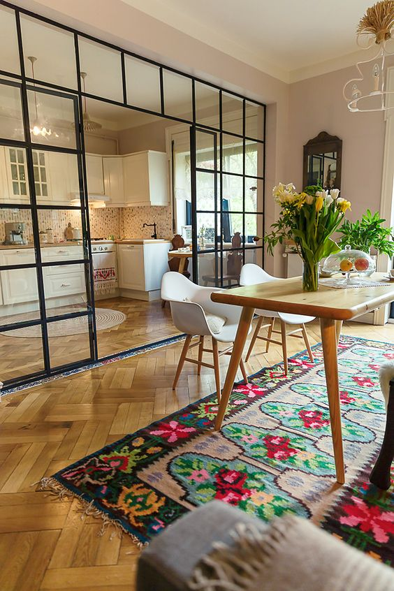 modern dining room with bright colours turkish kilim rug