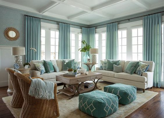 mint green curtains and pillows with beige sofas