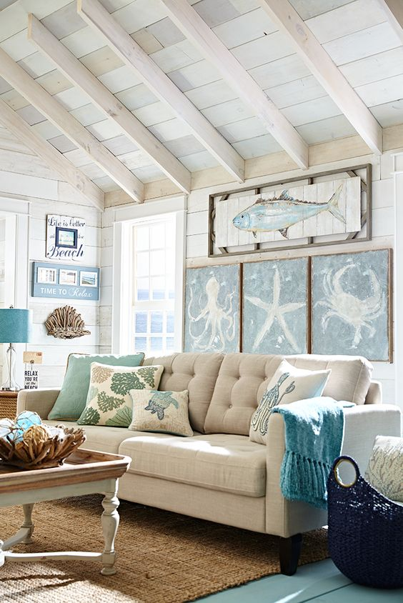 beige sofa and turquoise decorations