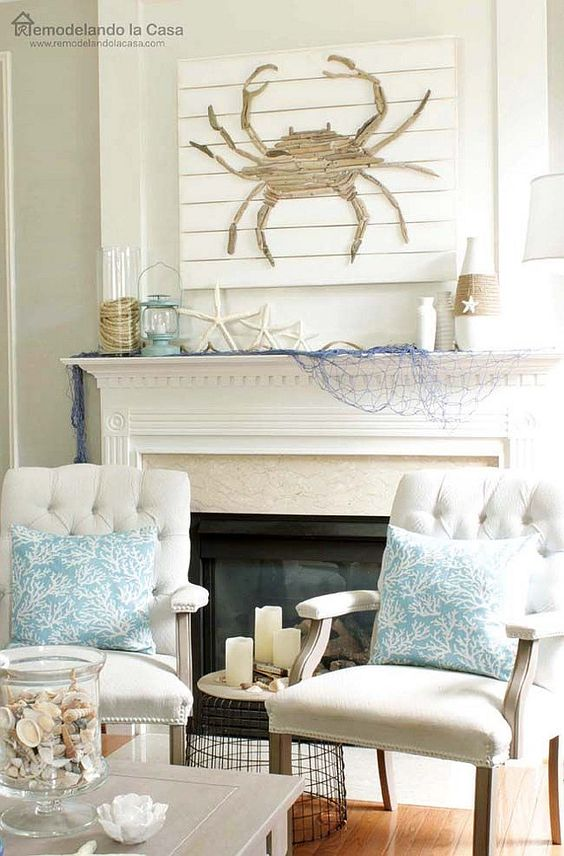 beach style fireplace