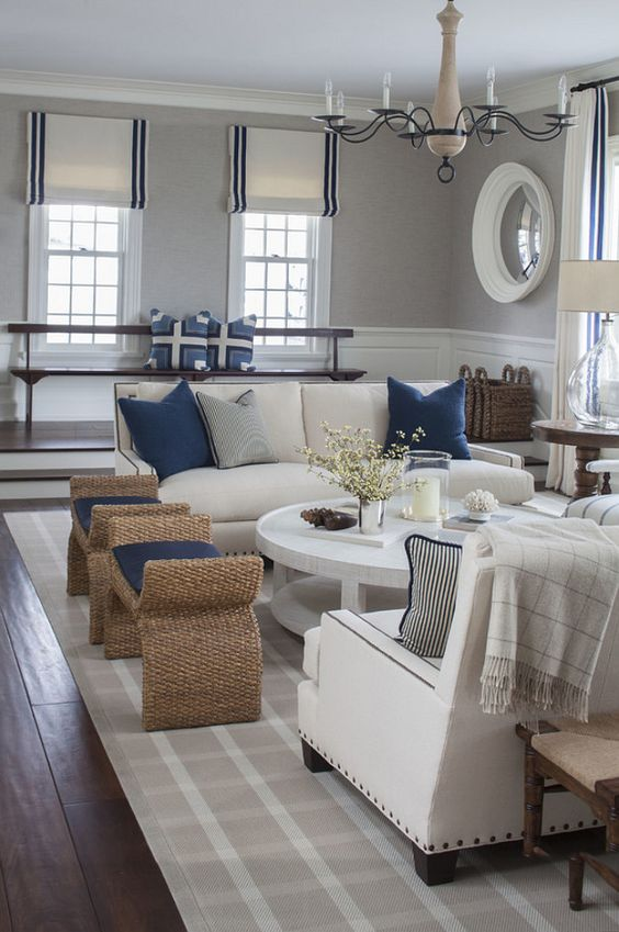white sofas and blue decorative pillows