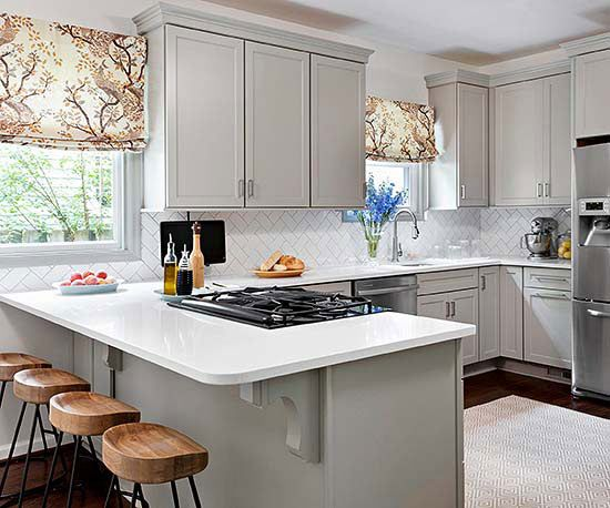 Small Galley Kitchen Design Ideas With White Appliances ~ Kitchen with a peninsula design ideas decoholic
