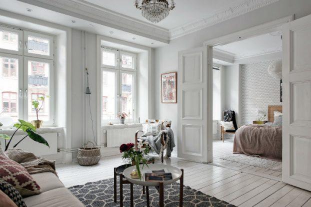 white Scandinavian apartment interior design