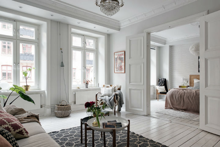 white Scandinavian apartment interior design